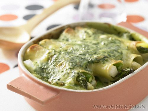 Spargel-Cannelloni mit Spinat