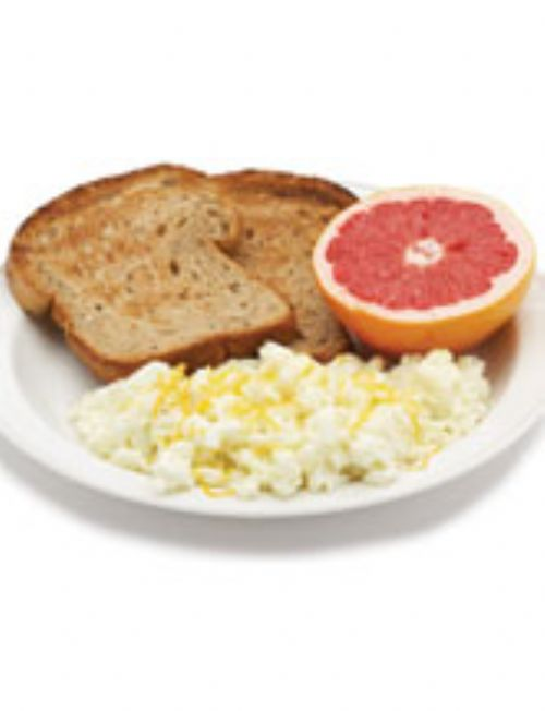 Scrambled Eggs with Toast and Grapefruit