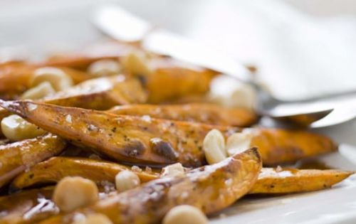 Roasted Sweet Potatoes with Macadamia Nuts