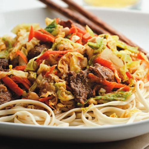 Beef and Cabbage Stir-Fry with Peanut Sauce
