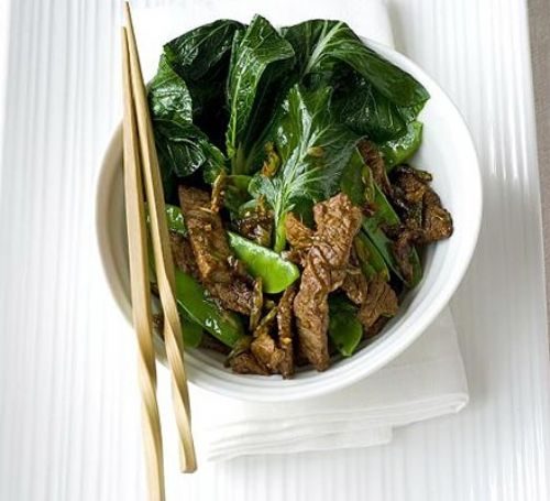 Ginger garlic beef with sesame greens
