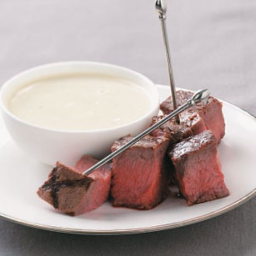 Grilled Steak Appetizers with Stilton Sauce