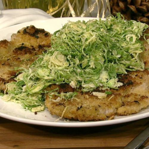 Double Cut Pork Chops with Shaved Brussel Sprouts