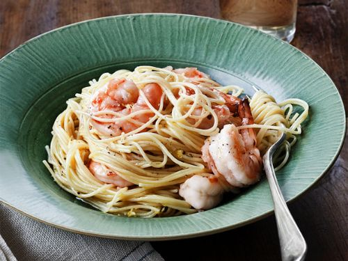 Ina's Lemon Pasta With Roasted Shrimp