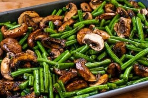 Green Beans and Mushrooms Vegan style