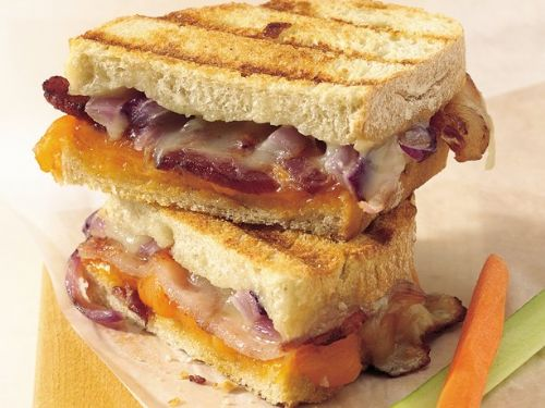Grilled Double-Cheese and Bacon Sandwiches
