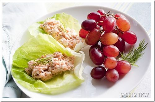 Greek Inspired Salmon Salad In Lettuce Wraps
