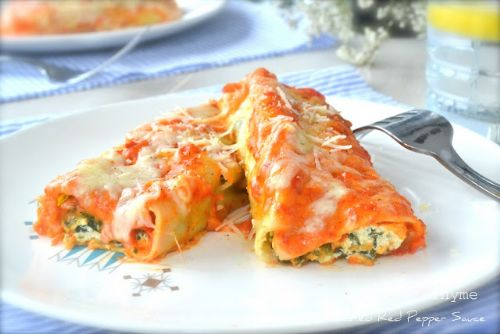 Vegetable Lasagna Rolls with Roasted Red Pepper
