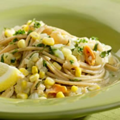 Spaghetti With Clams and Corn