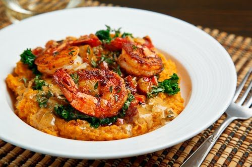 Blackened Shrimp on Kale & Mashed Sweet Potatoes
