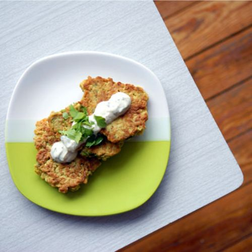Cauliflower and Cumin Fritters w/ Yogurt Lime Sauc