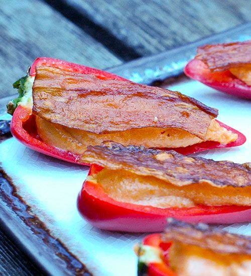 Pepper Poppers with Pine Nut Filling and Bacon