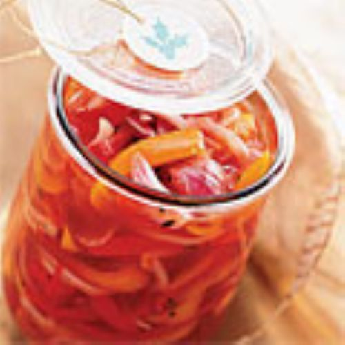 marinated peppers and Onions