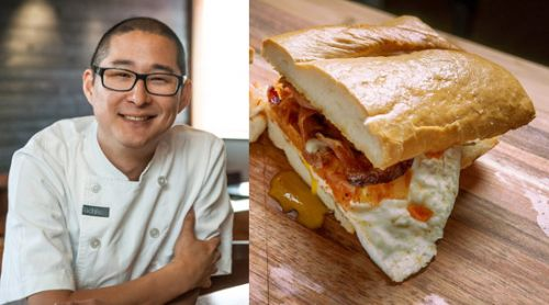 Fried-Egg Sandwich with Kimchi and Bacon