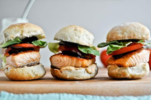 Salmon BLT Sliders with Chipotle Mayo