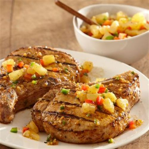 Spiced Brandy & Herb Pork Chops w/ Pineapple salsa
