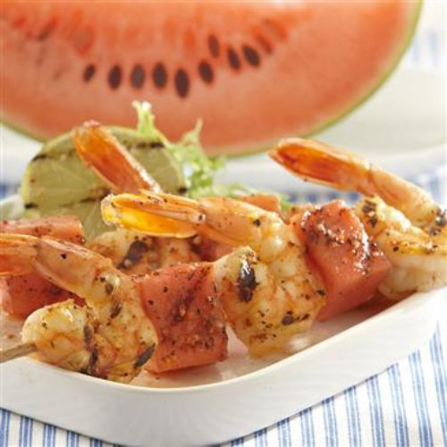 Fiery 5 Pepper Shrimp and Watermelon Kabobs