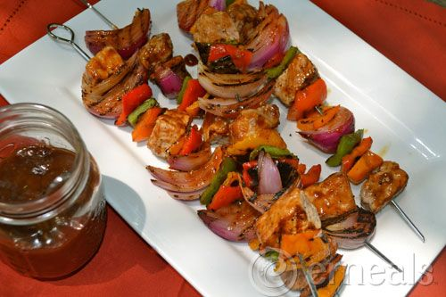 Pork and Veggie Skewers with Ranch Barbecue Sauce