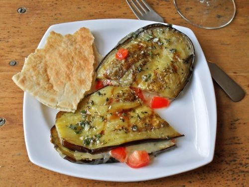 Grilled Eggplant with Tomatoes and Melted Cheddar
