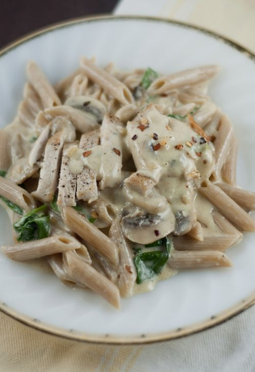 Whole Wheat Penne with Chicken, Mushrooms & Spinac