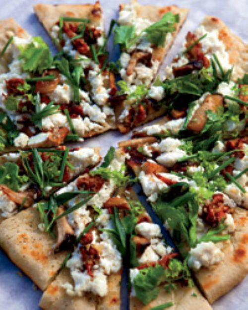 Grilled Flatbread with Mushrooms, Ricotta & Herbs