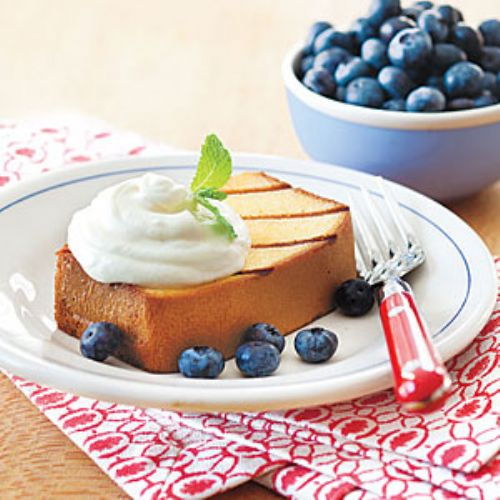 Grilled Pound Cake with Lemon Cream & Blueberries
