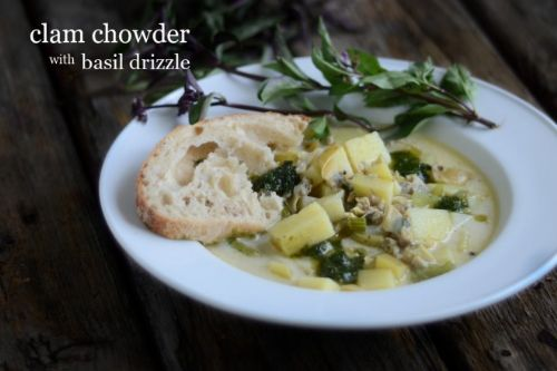 clam chowder with basil drizzle
