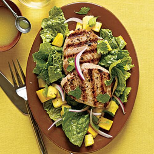 Grilled Yellowfin Tuna w/ Romaine & Tropical Fruit