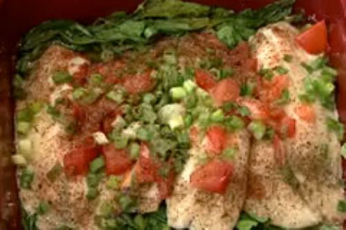 Baked Tilapia w/ Spinach, Tomato & Onions