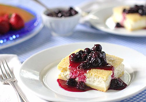 Baked Cheese Blintzes w/ Fresh Blueberry