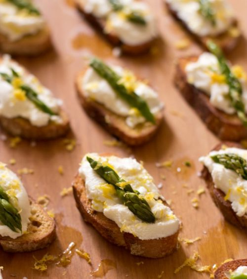 Ricotta Crostini w/ Asparagus and Lemon
