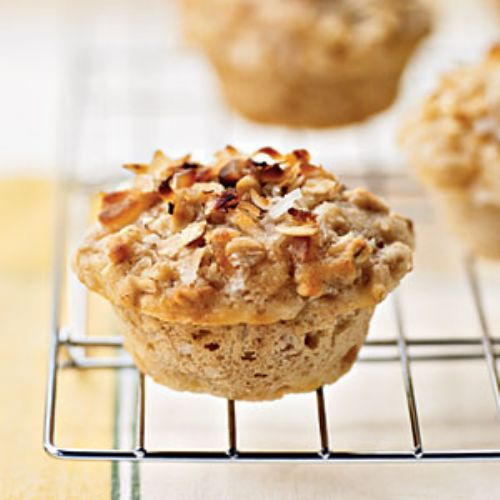 Tropical Muffins with Coconut Macadamia Topping