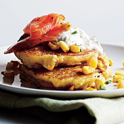 Corn Pancakes with Smoked Salmon and Lemon-Chive C