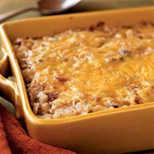 Hash Brown Casserole With Bacon, Onions, & Cheese