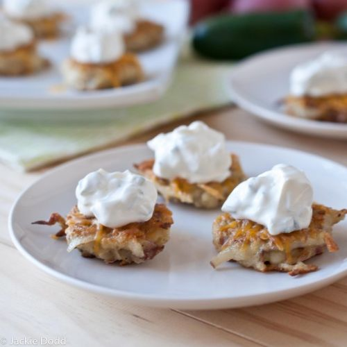 Cheesy Potato Pancakes with Jalapeno Sour Cream