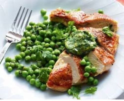 Chicken and peas with tarragon butter
