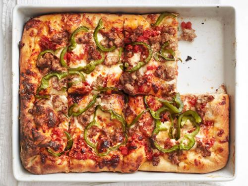 Pizza - Sicilian Pizza with Sausage and Peppers