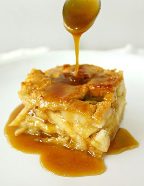 Apple Rum Bread Pudding w/ Butterscotch Rum Sauce
