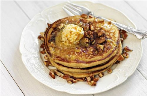 Sweet Potato Pancakes, Spiced Pecans, Peach Butter