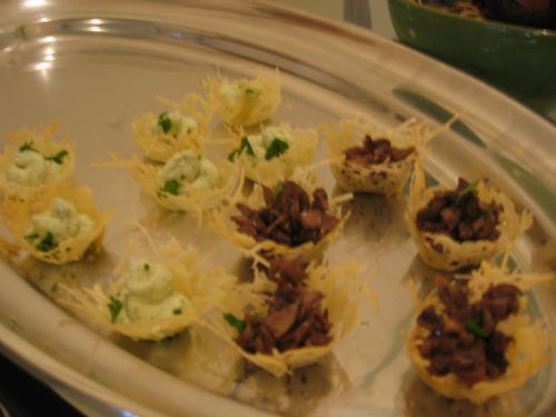 Parmesan Nests w/ Goat Cheese Mousse & Mushrooms