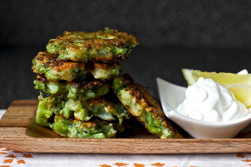 Broccoli Parmesan Fritters With Lemon Yogurt
