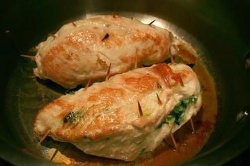 Spinach, Cheese and Ham Stuffed Chicken Breast