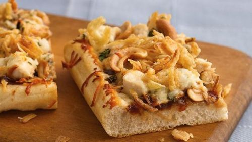 Barbecue Cashew-Chicken Pizza with French-Fried On