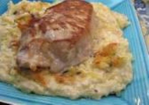 Pork Chops with Cheesy Hash Brown Potatoes