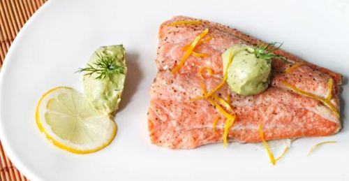 Oven-Baked Salmon with Avocado-Dill Yogurt