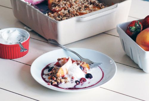 Peach-berry crisp with coconut cream