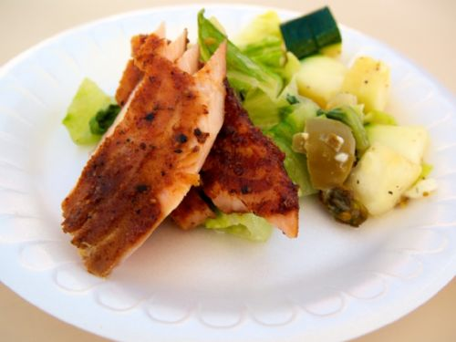 Smoked Salmon over Grilled Salad