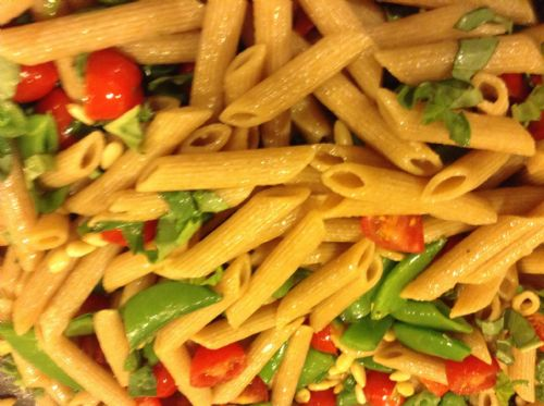 Pasta- Penne with Sugar Snaps, Tomatoes and Herbs