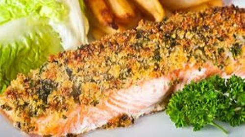 baked salmon with herby crust