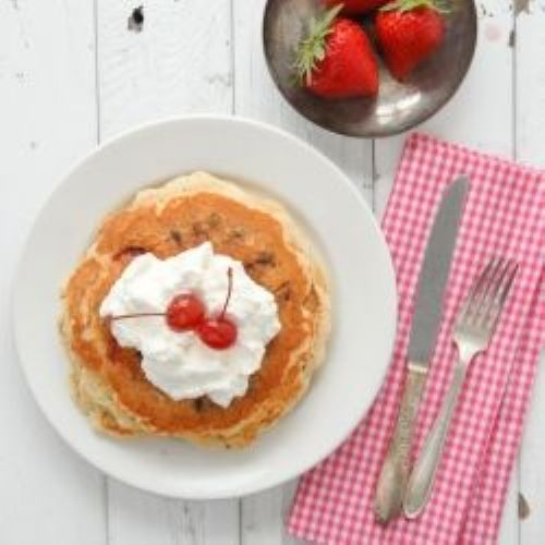 Fresh Strawberry Chocolate Chip Pancakes
